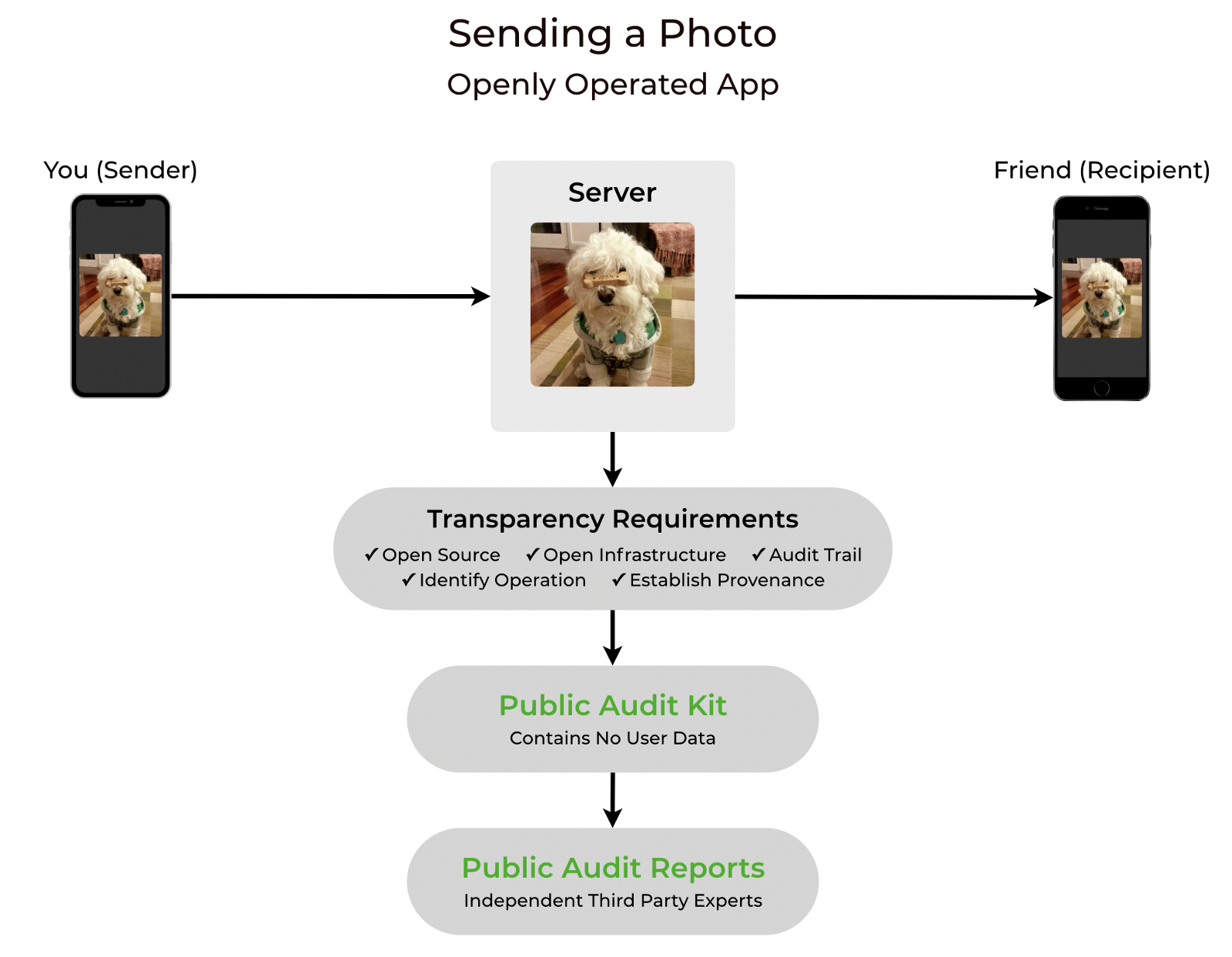 A photo is sent from a Sender device to a server, then to a Recipient device. The server meets five Openly Operated Transparency Requirements, which produce Public Audit Kit and Public Reports.