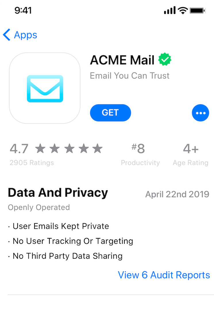 An app store listing with verifiable data and privacy information up front.