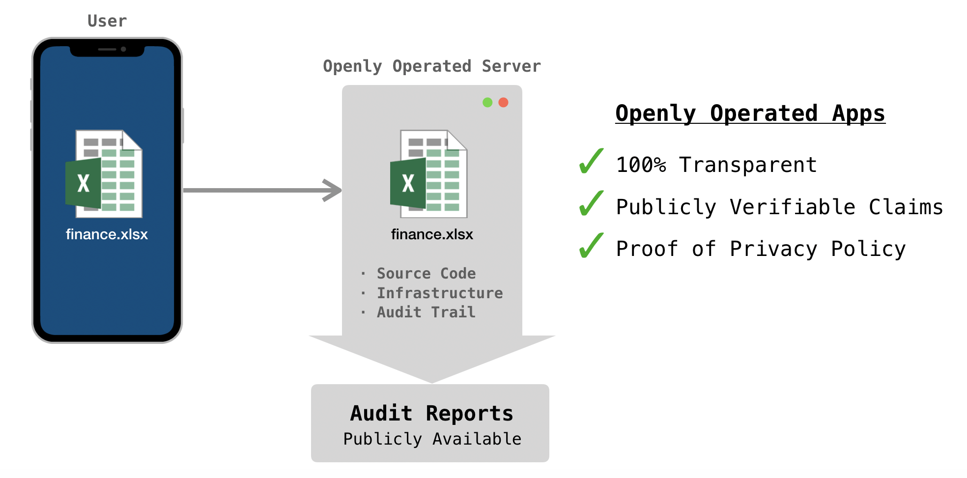Diagram of phone transferring a secret document to an openly operated server.